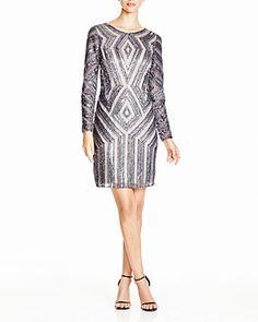 Adrianna Papell Petites Diamond Beaded Dress | Bloomingdale's
