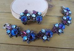 Vtg 1950's FLORENZA Signed Aurora Borealis AB Jewelry Bracelet & Earrings…