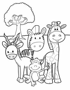Safari Friends - Free Printable Coloring Pages