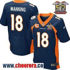 Men's Denver Broncos #18 Peyton Manning Navy Blue 2016 Super Bowl 50th Championship Patch Stitched NFL Nike Elite Jersey with C Patch