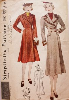 A stunning 1930s double breasted princess coat. It is flared at the bottom and has four buttons and a notch collar.  The back of the pattern has the blue and red Simplicity seal of approval.  Simplicity 2540 ©1930s Misses' Size 12: Bust: 30 in. Waist: 26 in. Hip: 33 in  Pattern is unprinted, precut and complete. Envelope has edgewear and discoloration, pencil writing. It is missing the bottom flap. Condition of the envelope sleeve is fair.   INCHES TO CENTIMETERS CONVERSION ...