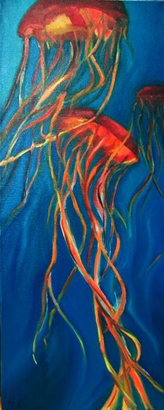 """Fighting for Light"" Jellyfish Painting, Oil on Canvas, 2012, by Heather Karp"