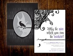 Maleficent Birthday Invitation – Printable, Digital File – DIY by MootsMadeD… - Modernes Printable Birthday Invitations, Diy Invitations, Kids Party Decorations, Party Themes, Party Ideas, Maleficent Party, Villains Party, Celebrate Good Times, Photo Processing