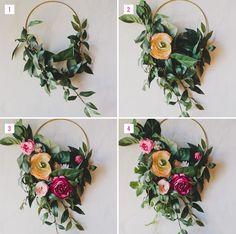 DIY Floral Hoop for bridesmaids