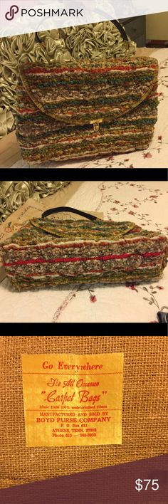 """True Vintage Boyd Purse Co Carpet Bag KISS Lock Very good clean condition.  Kiss lock closure on one inside picket.  True vintage carpet handbag from Boyd Purse Company Athens, Tennessee.  Multi color yarns.  It measures 13"""" wide x 10""""h Boyd Purse Company Bags"""
