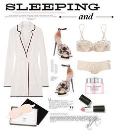 """sleeping prettily."" by mercimasada ❤ liked on Polyvore featuring Dorothy Perkins, Gianmarco Lorenzi, Myla, Equipment, Friedman, Sigma, Lancôme, romantic, lingerie and sleepwear"