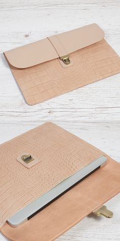 """Leather case fits MacBook Air 11"""" or MacBook 12"""" or anything you need for on the go.  Can be used as a sleeve for all 10- 11 inch tablet and ultrabooks. It easily fits a folder (8.5"""" x 11"""" size) with 40-50 sheets of A4 paper  Made of thick vegetable tanned #leather with brass antique closure.  #macbook #case #handmade #leatherwork"""