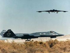 McDonnell Douglas YF-23 And a Northrop Grumman B-2 stealth Bomber.