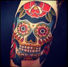 tattoo sugar skull - tatuaje calavera de azucar by skinmexica ...