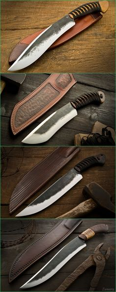 Burt Forster Handmade Knives :: Camp Knives. Top to Bottom : Bamboo Kukri, Rustic Shovelnose, Brush-Beater & Bamboo Camp Knife.
