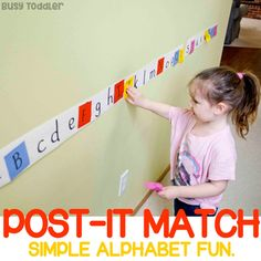 Ready to work on the alphabet? Try this Post-It Match activity! A hands-on, play-based approach to learning the alphabet. A great indoor activity from Busy Toddler. Letter Activities, Preschool Learning Activities, Preschool Lessons, Preschool Activities, Kids Learning, Learning Methods, Play Based Learning, Learning Styles, Motor Activities
