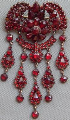 Vintage Silver Bohemian Garnet Necklace c.1910