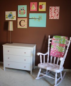 Nursery Canvas Tutorial - So You Think You're Crafty. Each  Canvas features different technique: paint, cloth, paper.