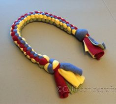 2ef67c657 Dog Tug Toy Fleece Knotted Dog Toy Red Yellow by CoffeeChickCrafts  hepteam  rainbow Dog Toys