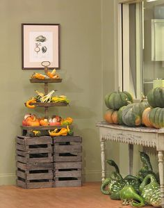 Fall Details with Pumpkins and Flowers at Martha Stewart