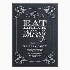 black and white christmas invitations