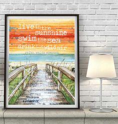 Beach Boardwalk ART PRINT or CANVAS Ralph Waldo Emerson by dannyphillipsart