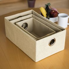 3 Nesting Storage Boxes in Natural: Amazon.co.uk: Kitchen & Home