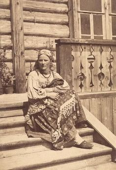 Russian peasant girl. Ethnically Russian people. old photo