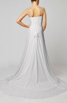 White Elegant Beach Sheath Spaghetti Sleeveless Chiffon Court Train Bridal Gowns - iFitDress.com