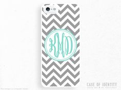 Monogram iPhone Samsung Case - 5, 4 Galaxy s2 s3 s4 note, Ipod Touch 4, 5, Blackberry - Zig Zag Chevron - Grey Mint - 0002 on Etsy, $15.70