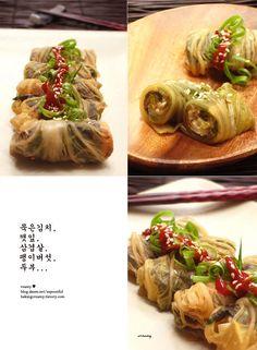 baking101 ::   삼겹살 두부김치롤 찜, pork belly with tofu    korean food , http://blog.daum.net/aspoonful
