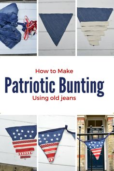 How to make patriotic stars and stripes flag bunting by upcycling some old jeans and scrap ribbon.