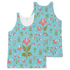 Retro Vintage Floral Pink Green White Blue Flowers All-Over-Print Tank Top - pink gifts style ideas cyo unique
