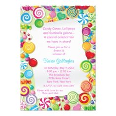 candy Theme Sweet 16 Invite