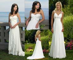 New white/ivory chiffon Wedding dress Evening Party Dresses sz6 8 10 12 14 16 18