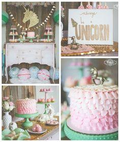 Vintage Unicorn Birthday Party via Kara's Party Ideas Unicorn Themed Birthday Party, Unicorn Birthday Parties, First Birthday Parties, Birthday Party Themes, Girl Birthday, Birthday Ideas, Lila Party, Festa Party, Pony Party