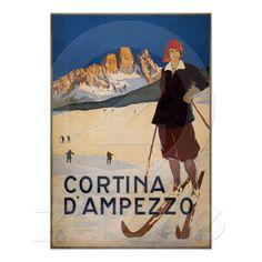 Poster de viagens do vintage - Cortina d'Ampezzo de Zazzle.com.br