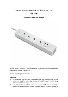 JoyNano Universal Power Strip User Guide 4 AC Outlets 4-Port USB Charging Station 2500W 10A Surge Protector 3-Prong Power Socket 6ft Extension Cord