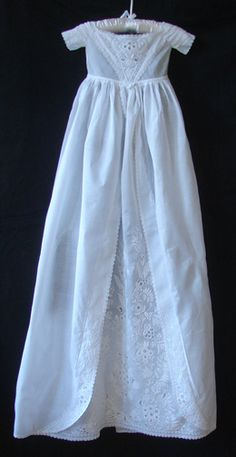 Maria Niforos - Fine Antique Lace, Linens & Textiles : Antique Christening Gowns & Children's Items # CI-45 Stunning 19th C. Ayrshire Christening Gown