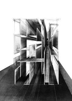 Drawing ARCHITECTURE | Drawingss Tagged 'charcoal' Tek Kaçışlı Perspektif