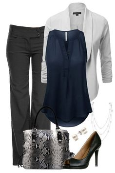 I like the cuts and color pallet of the items in this look. I like the shoes as well. I do not carry a purse.