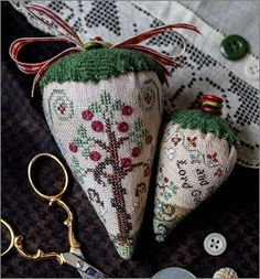 New Cross Stitch Patterns from Erica Michaels Designs Cross Stitch Christmas Ornaments, Christmas Cross, Hand Embroidery Projects, Cross Stitch Finishing, Little Stitch, Simple Cross Stitch, Sewing Accessories, Pin Cushions, Cross Stitching