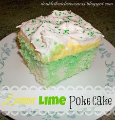 Lemon Lime Poke Cake @ Double the Deliciousness