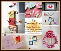 Top Valentines Crafts- A compilation of the best crafts for kids, valentines day cards, gifts and home decor #valentinesday