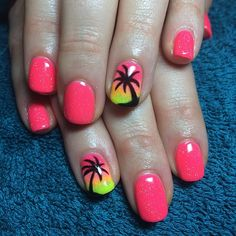 Bright coral pink nails with yellow and pinky orange ombré with palm tree silhouette as a statement