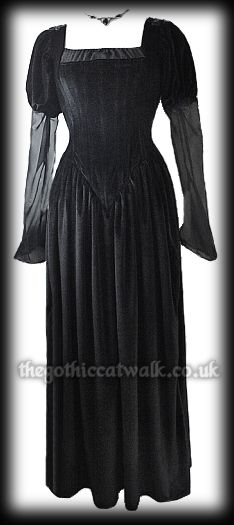 Long Black Velvet Gothic Medieval Dress with Train...$96.95