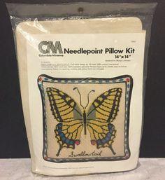 "VTG CM Swallowtail Butterfly Needlepoint Pillow Kit 14"" X 14"" NOS 1977 #CM"