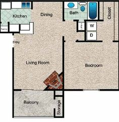 Regency Floor Plan at The Copper Hill Apartments in Bedford, TX