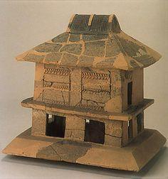 Ritual house. The Kofun period (AD.250-AD.592) art, Haniwa terracotta clay figure. Mie Japan.