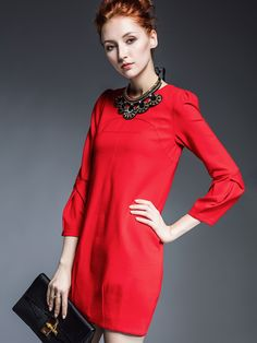 1ce900c879 Red Round Neck Length Sleeve Necklace Dress -SheIn(abaday) Dress Work