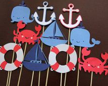 12 Nautical Table Decor Sticks, Centerpiece Sticks, Nautical Birthday, Nautical Baby Shower