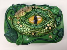Dragon Eye Jewelry Box Tin made of Polymer Clay by BrenFischer