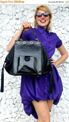 PURPLE SALE 20% OFF Leather Black Tote with Fringes Genuine https://www.etsy.com/listing/521028685/purple-sale-20-off-leather-black-tote?utm_campaign=crowdfire&utm_content=crowdfire&utm_medium=social&utm_source=pinterest