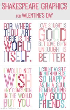 Free Shakespeare Printables for Valentine's Day - Mad in Crafts