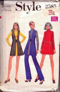 Genuine vintage 1970s STYLE 2585 Funky Ladies Tunic A-line Dress, Waistcoats and Bell Bottom Trousers Sewing Pattern